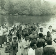 Locals on the dock, Karlai Plantation, Wide Bay, Rabaul, New Britain, Papua New Guinea. Michael S Parer collection.